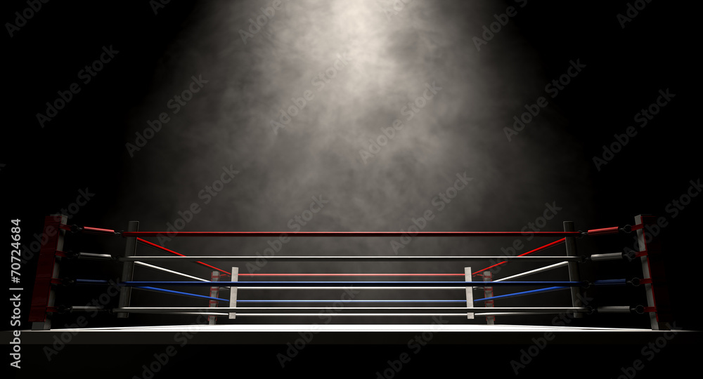 Fototapety, obrazy: Boxing Ring Spotlit Dark