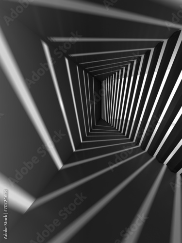 Abstract dark 3d interior background with light beams #70724603