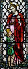 Naklejka Witraże sakralne Jesus Christ teaching a child