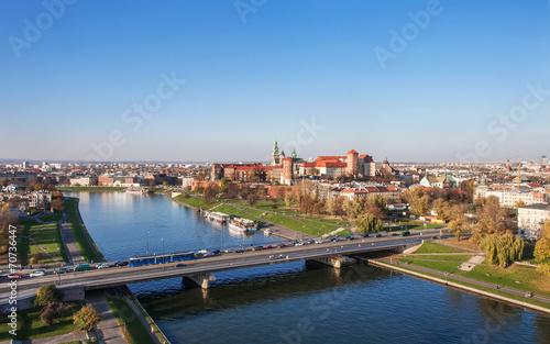 Fototapeta Poland: Krakow panorama with Wawel Castle in autumn obraz