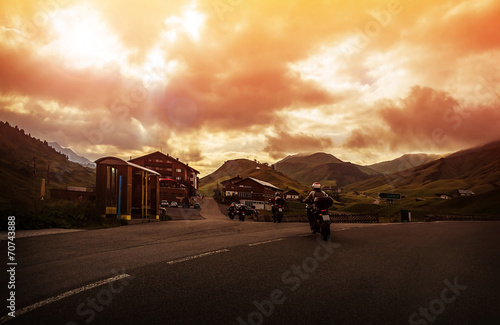 Fototapety, obrazy: Group of bikers in mountain