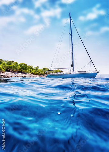 Poster Zanzibar Luxury sailboat in the sea