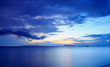 Panoramic dramatic tropical blue sunset and sky background
