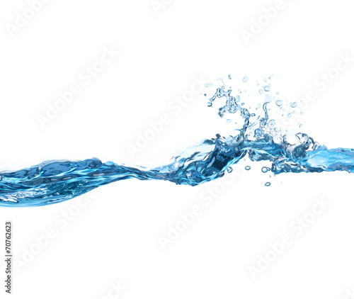 Fotografering  Water Wave on white background