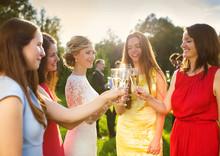 Bride With Bridesmaids Toasting
