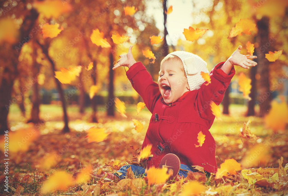 Fototapety, obrazy: happy little child, baby girl laughing and playing in autumn