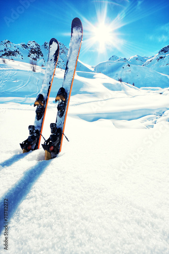 Fotografie, Obraz  Skis in snow at Mountains