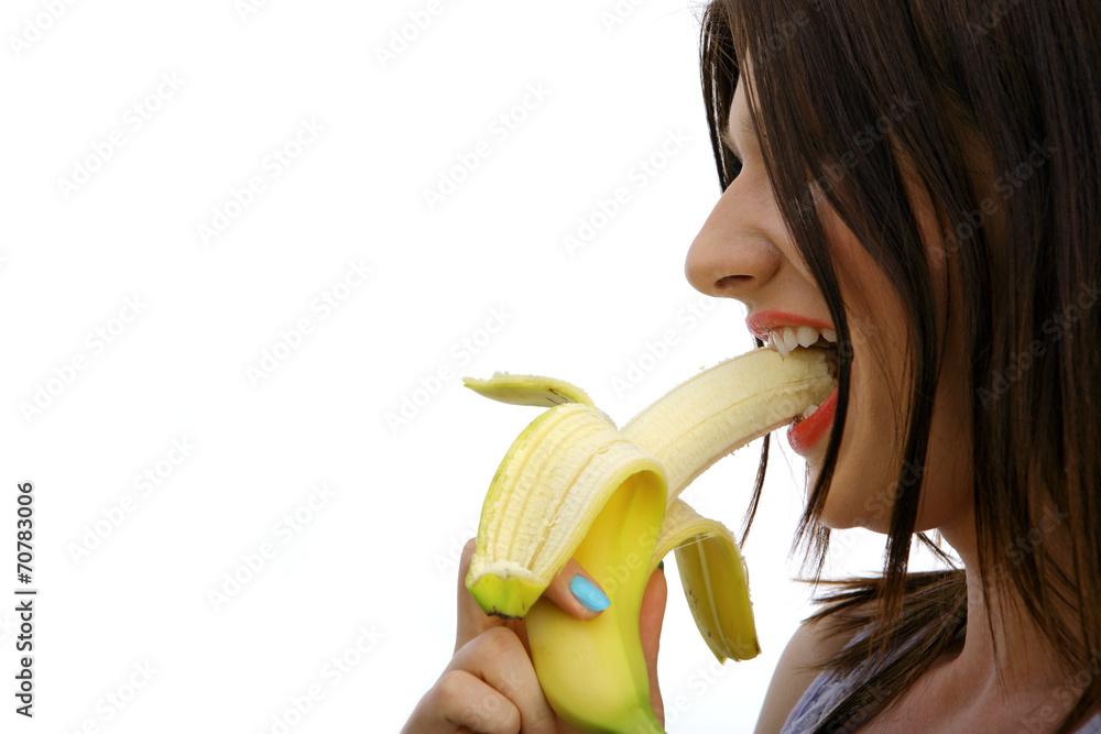 Fototapeta kobieta z bananem
