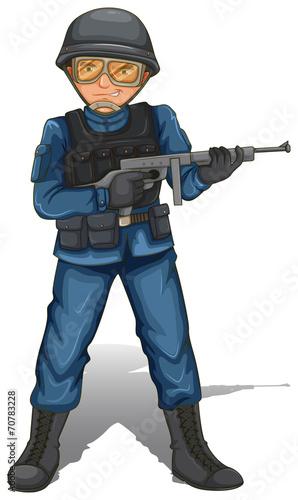 Fotografía  A soldier with a gun