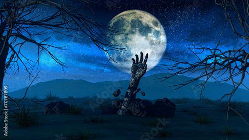 Halloween background with zombie hand Tapéta, Fotótapéta