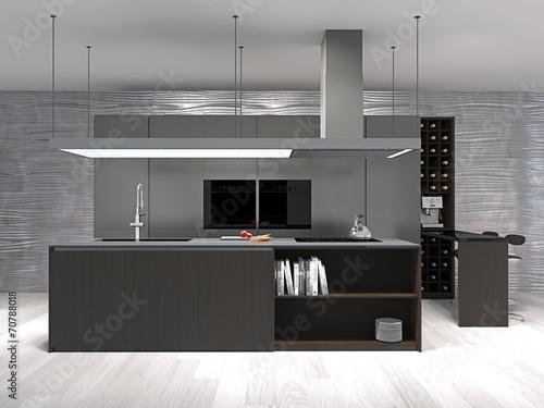 Moderne Küche Mit Weinregal