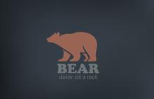 Bear Logo Design Vector Template. Wild Animal Zoo Icon