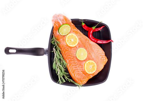 Fotografie, Obraz  Fresh salmon fillet on a pan.