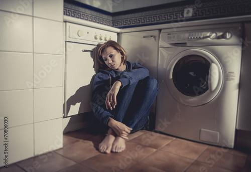 Printed kitchen splashbacks Artist KB lonely sick woman sitting sad on kitchen floor in depression
