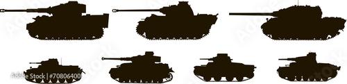 Fotografía  Silhouettes Tanks World War II