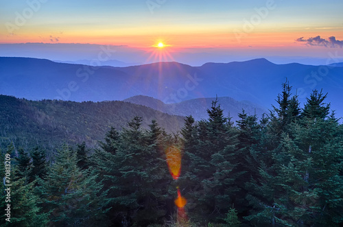 Blue Ridge Parkway Autumn Sunset over Appalachian Mountains Poster