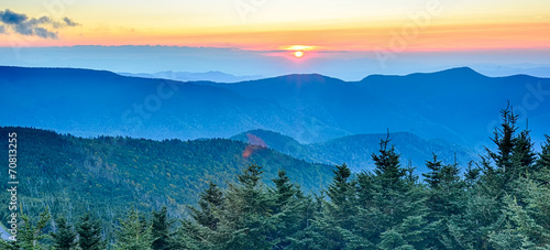top of mount mitchell before sunset Fototapet