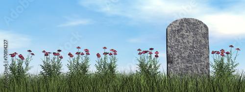 Cuadros en Lienzo Tombstone and beautiful flowers - 3D render