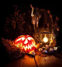 Halloween Still Life. Scary Ha...