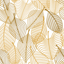 Seamless Pattern Of Yellow And Orange Autumn Leaves