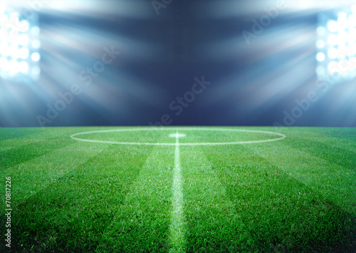 Poster de jardin Stade de football soccer field and the bright lights
