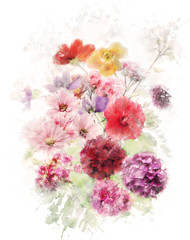 Naklejka Watercolor Image Of Flowers