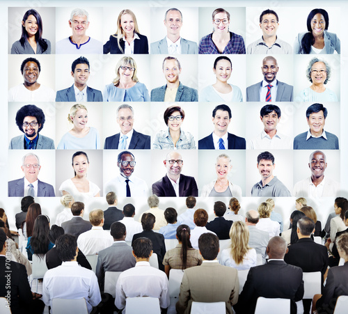 Fototapety, obrazy: Business People Sitting with Set of Business People's Faces