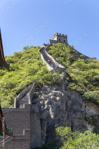 In de dag China China. View of the Great Wall in the rocky part