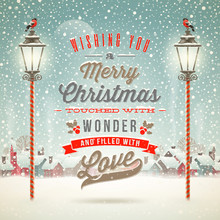 Christmas Type Design With Vintage Street Lantern
