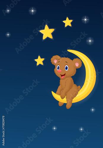 Foto op Plexiglas Hemel Baby bear sitting on the moon