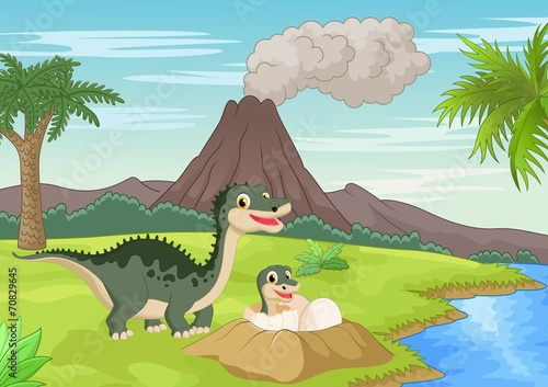 Fotobehang Honden Mother dinosaur with baby hatching