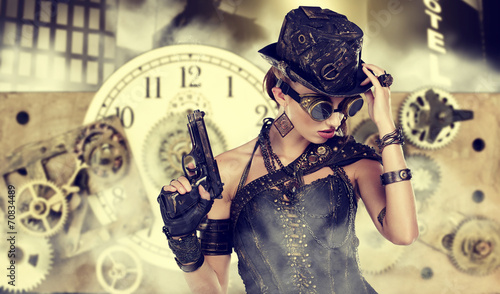 Photo  A steampunk woman stands on a background of abstract clock