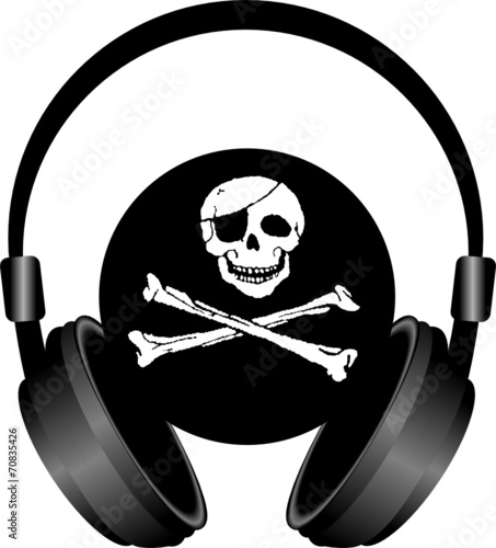 Obraz słuchawki i czaszka piracka - fototapety do salonu