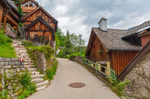 Deurstickers Toscane Architecture of Hallstatt village in Alps, Austria