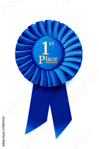 Circular pleated blue winners rosette Canvas