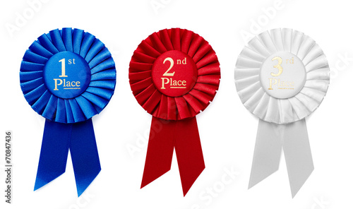 1st, 2nd and 3rd Place ribbon rosettes Canvas Print