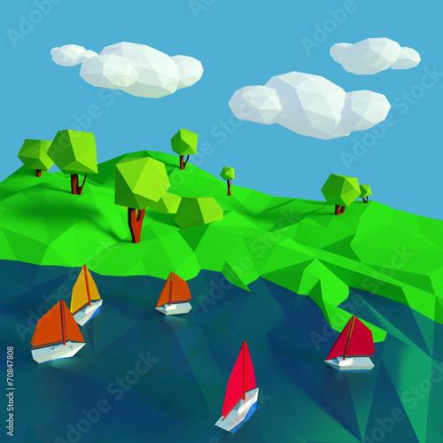 In de dag Pool Viele kleine Segelschiffe auf dem See