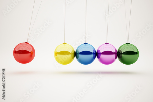 colorful of Newton's cradle
