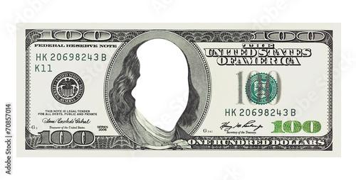 Fototapeta A hundred dollars bill with no face, clipping path obraz