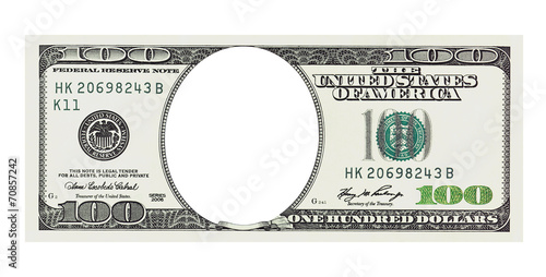 Tela  A hundred dollars bill with no face, clipping path