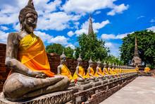 Thailand, Row Of Buddha Images...