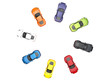 Top view on circle of multicolored cars on white background
