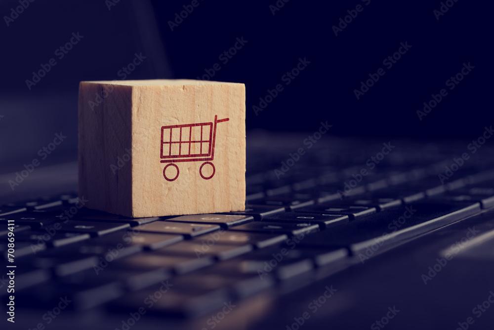 Fototapeta Online shopping and e-commerce background