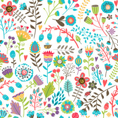 Cute seamless pattern with flowers