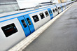 Train at platform, diminishing perspective