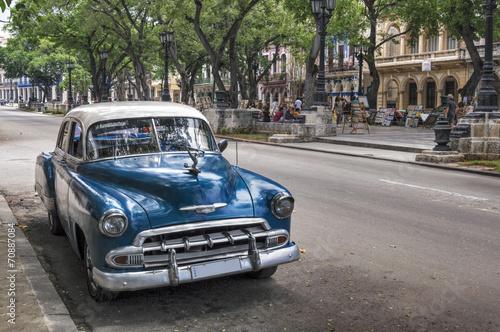 Classic american old blue car in Old Havana, Cuba Wallpaper Mural