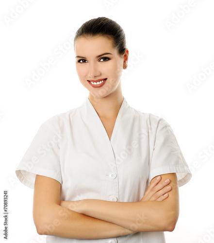Photo  cheerful cosmetologist