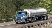 Gasoline Tanker Truck On The Interstate Highway