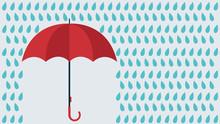 Vector Umbrella Under Rain Dro...