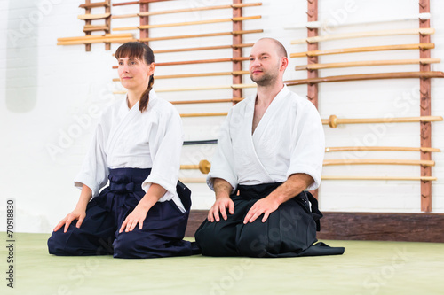 Photo Teacher and student at Aikido martial arts school